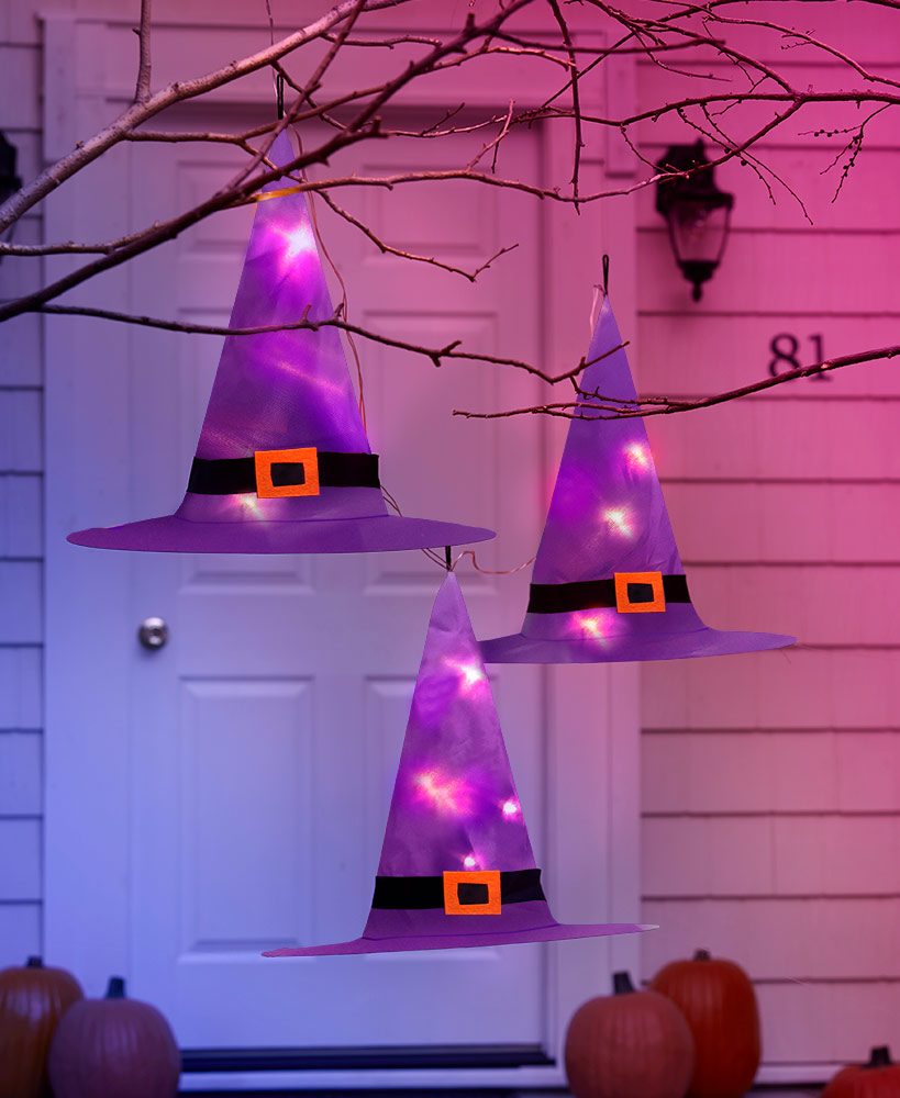 Outdoor Halloween Decorations - Sets of 3 Lighted Witches' Hats
