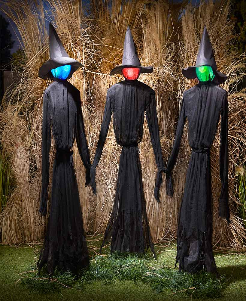 Outdoor Halloween Decorations - Life-Size Lighted Witch Trio
