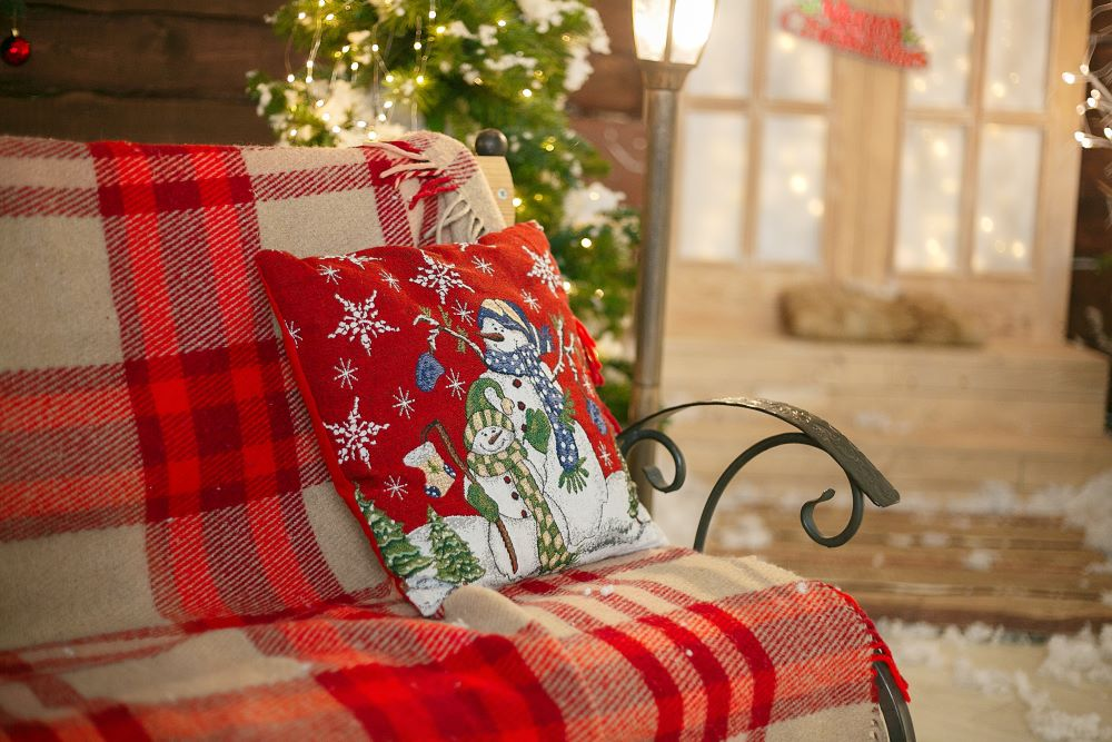 Winter Snowman Pillow And Red Plaid Blanket