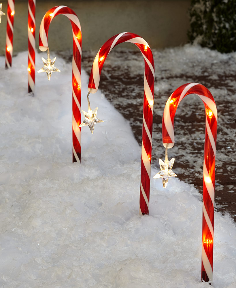 Set of 8 Solar Candy Cane Stakes