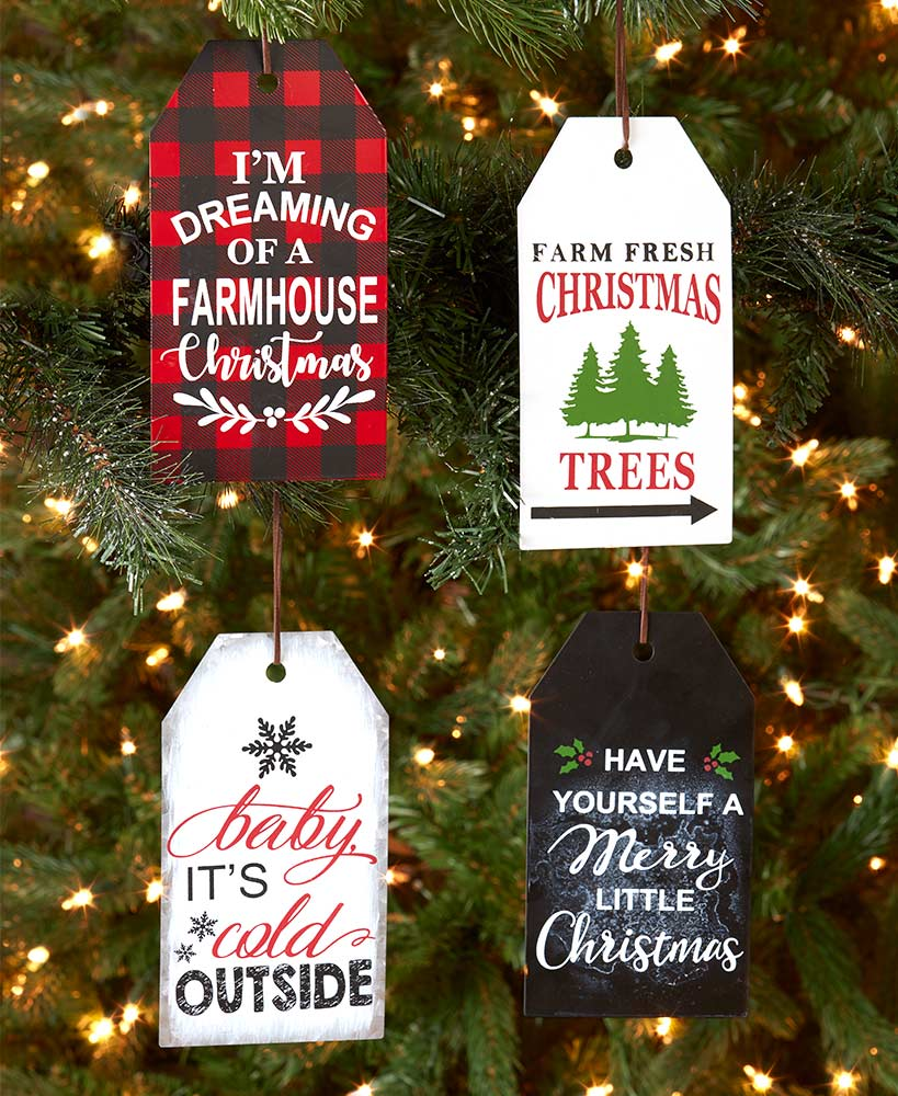 Set of 4 Country Farmhouse Sentiment Tag Ornaments