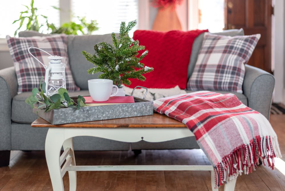 Buffalo Plaid Throw Pillows On Couch