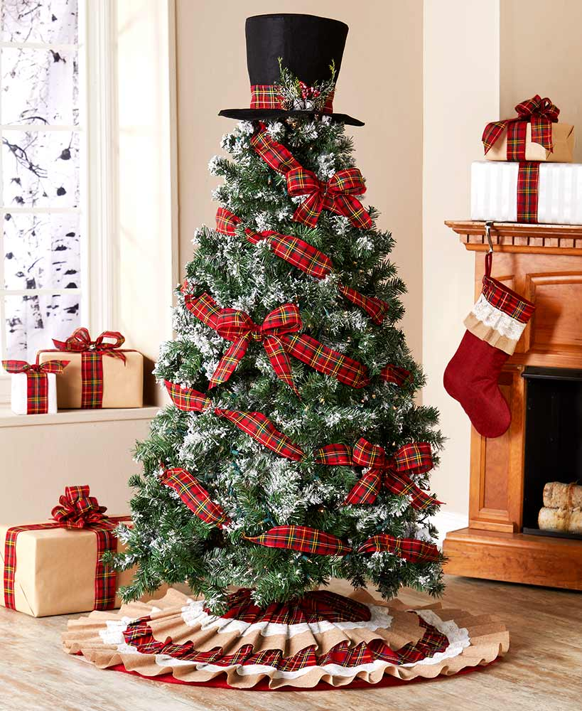 Buffalo Plaid and Burlap Country Ruffled Tree Skirt