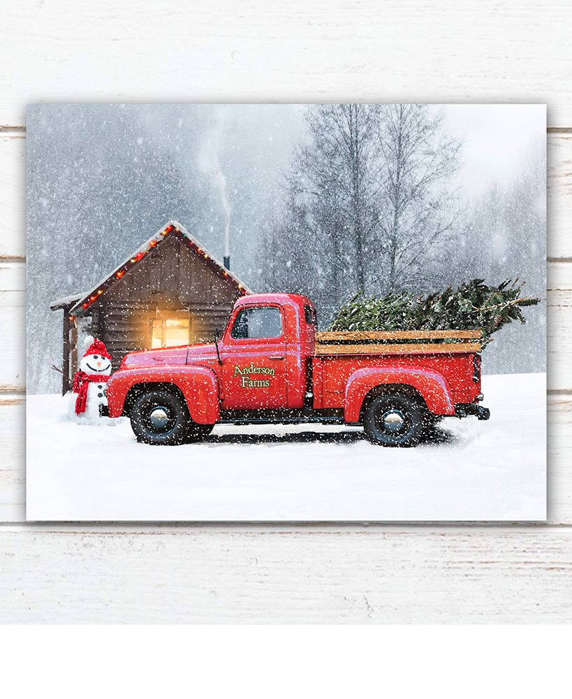 Personalized Winter Red Truck Print