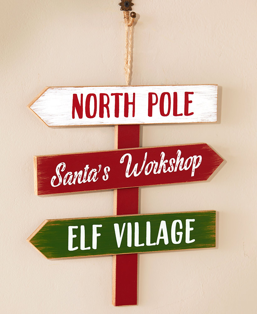 Direction Sign Large Christmas Tree Ornament