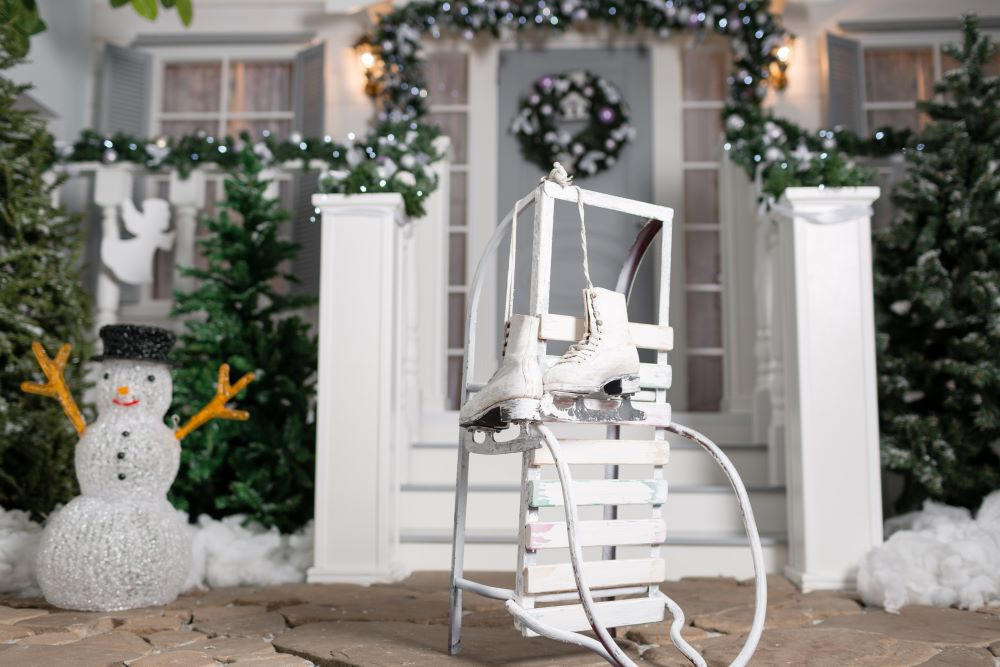 Snowman And Ice Skate Front Porch Decorations