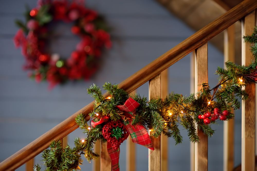 Christmas Garland On Stair Railing