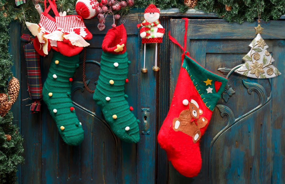 Christmas Stockings On Cabinet