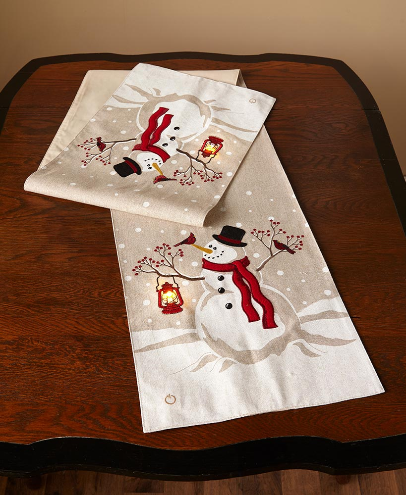 LED Holiday Snowman Table Runner