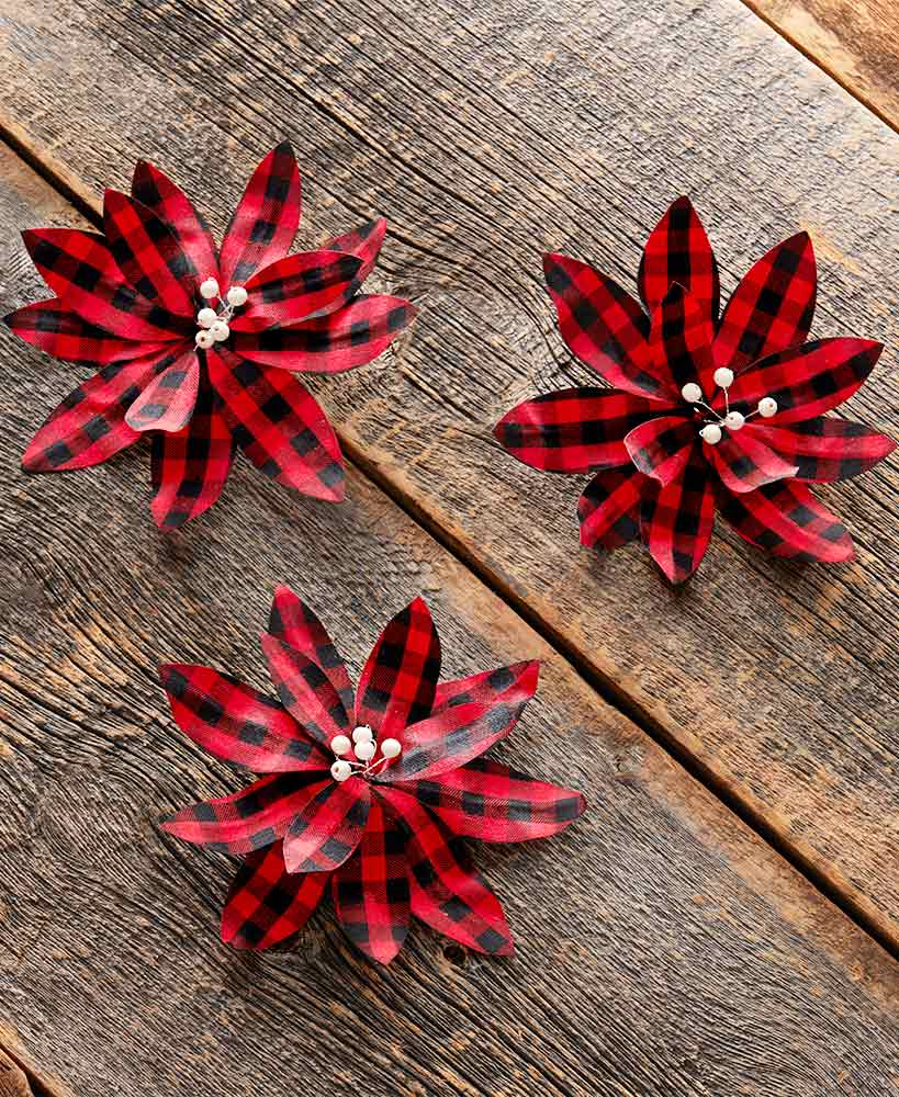 Sets of 3 Red Buffalo Plaid Poinsettia Tree Clips