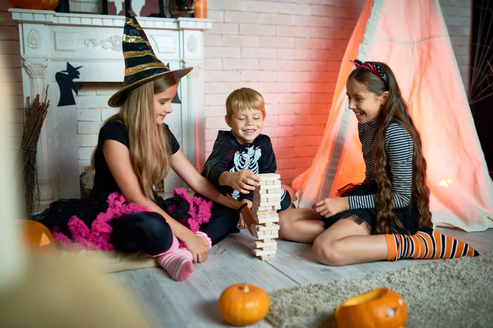 kids playing halloween themed game