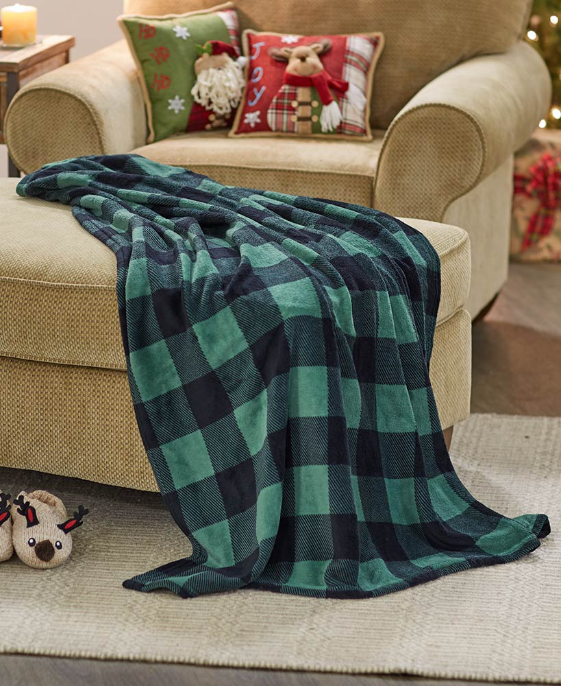 Plaid Plush Throw in Gift Bag