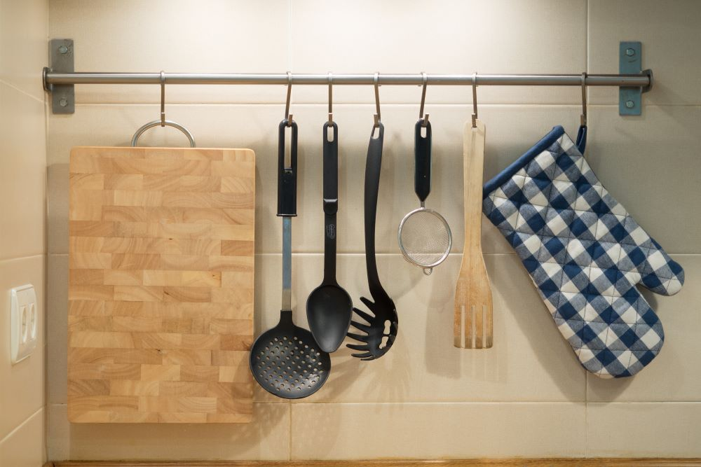 How To Declutter Your Kitchen Counters - Hang Kitchen Utensils On The Wall