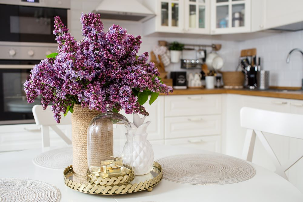 How To Declutter Your Kitchen Counters - Use Trays and Cake Stands For Kitchen Decor