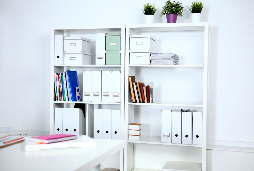 Home Office Hacks To Stay Organized - Shelving Units