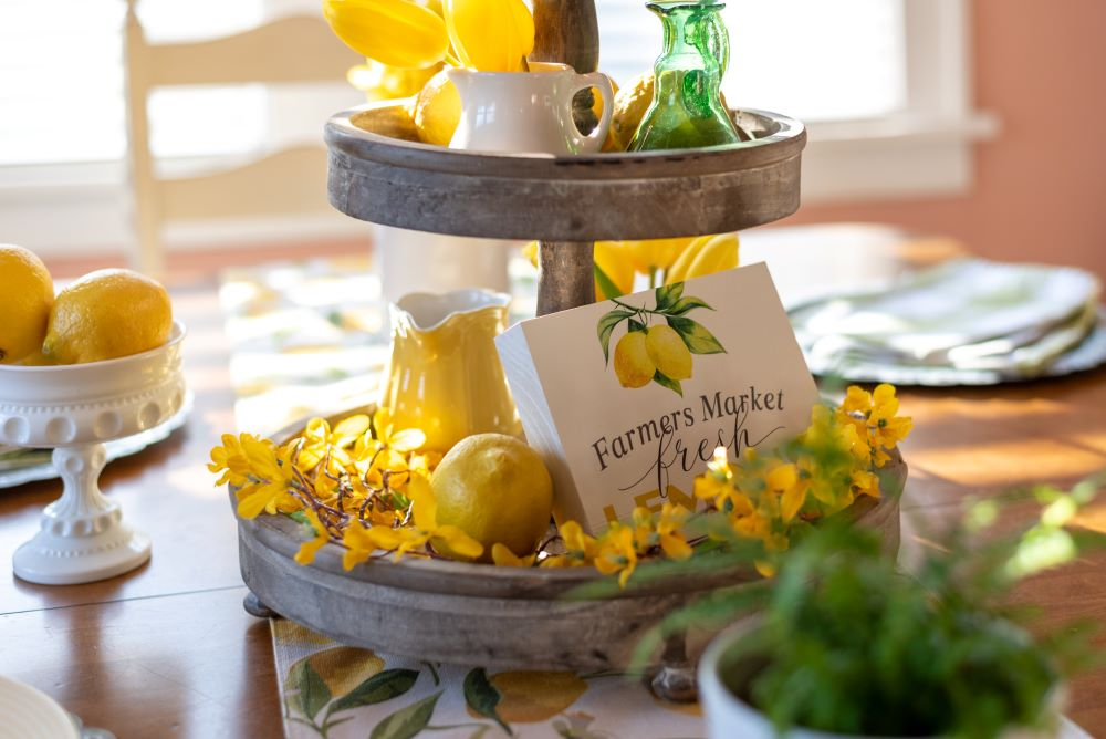 Lemon Themed Dining Table Centerpiece