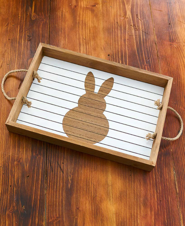 Easter Table Decorating Ideas - Country Easter Bunny Serving Tray