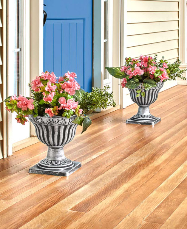 Spring Porch Decorating Ideas -Sets of 2 Urn Planters