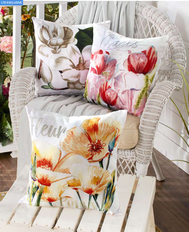 "Spring Porch Decorating Ideas - 16"" Indoor/Outdoor Floral Pillows"
