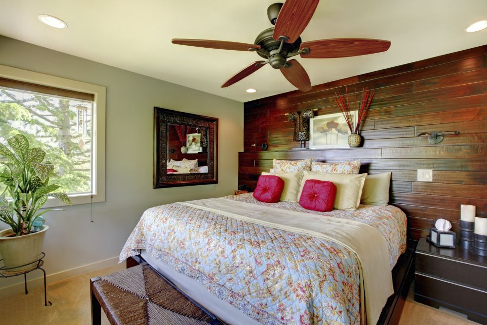 wooden bedroom accent wall