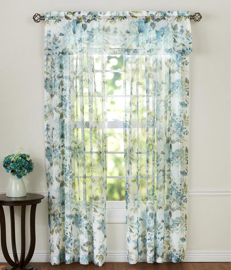 Floral Sheer Watercolor Panel or Valance