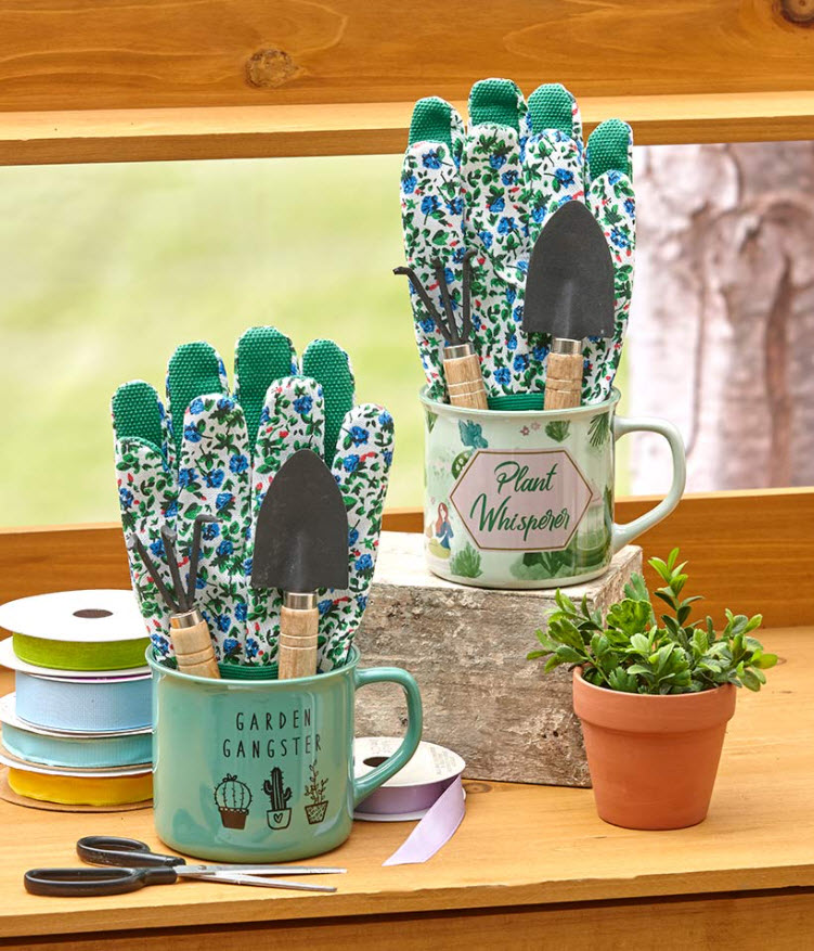Mother's Day Gift Ideas - Garden Tools and Stoneware Mug Sets