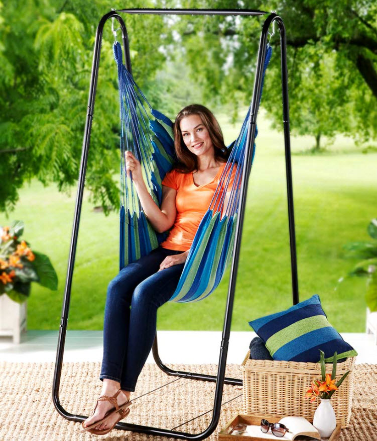 Patio Furniture Ideas - Hammock Chair Stand or Striped Hanging Chairs