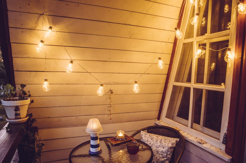 Decorate a Small Balcony - Outdoor String Lights