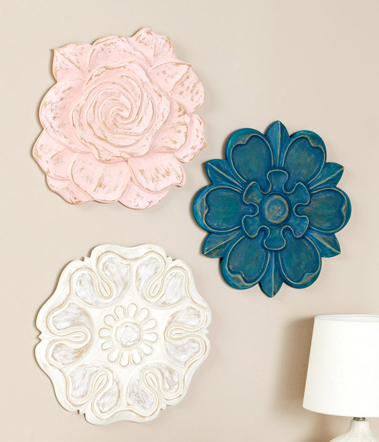 Wooden Carved Wall Flowers
