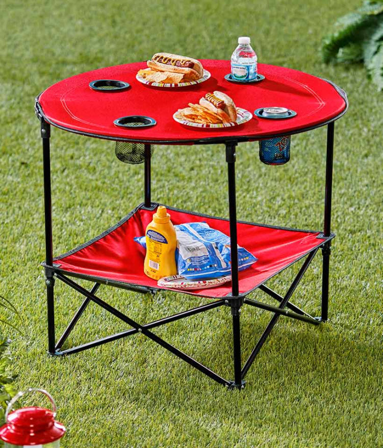 Folding Picnic Table with Shelf