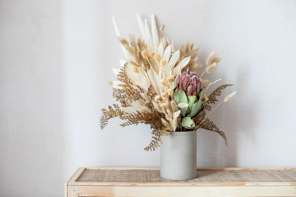 How To Style Faux Flowers In Your Home - make sure the arrangement isn't symmetrical