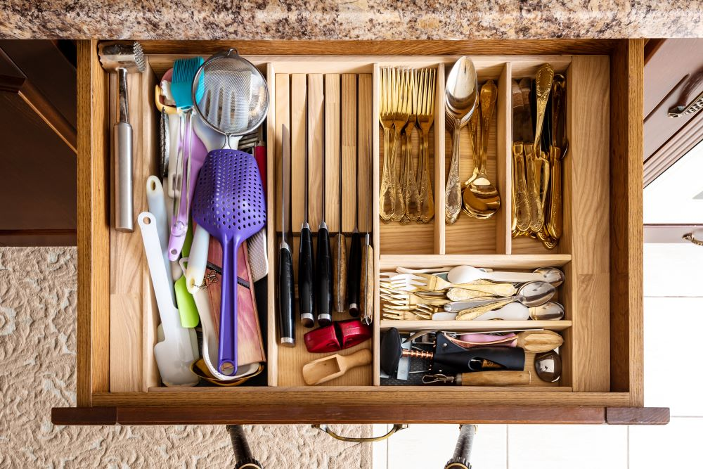Organized kitchen drawer with dividers