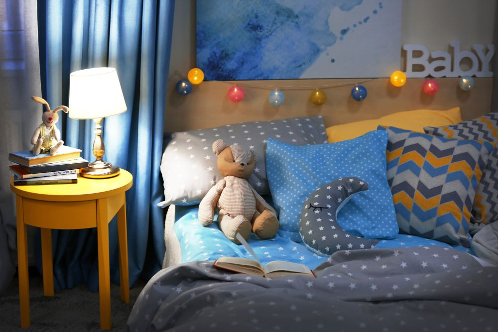 Decorate A Kid's Bedroom On A Budget - Patterned pillows and bedding