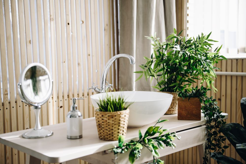 Add live plants to your bathroom