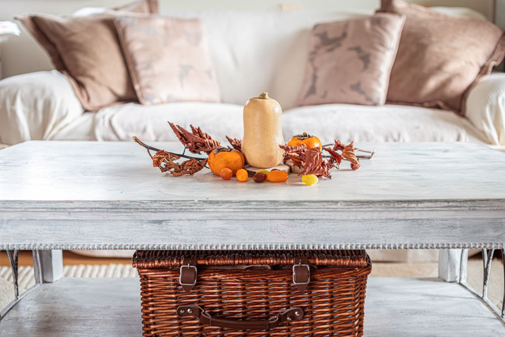 How To Start Decorating For Fall - pumpkins in living room