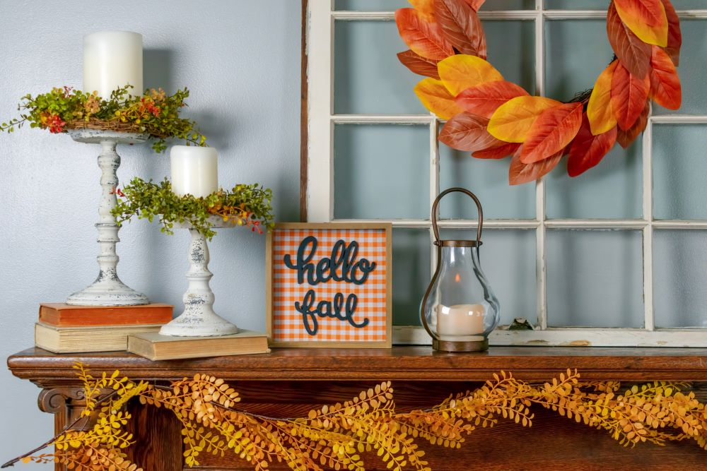 How To Start Decorating For Fall - fall decor on mantel