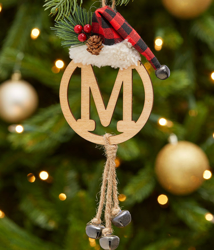 christmas in july sale - Christmas Monogram Bell Ornaments