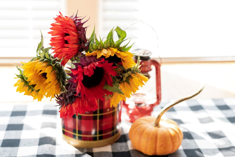 Plaid table with pumpkins and sunflowers