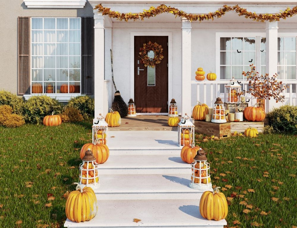 Fall porch with pumpkins
