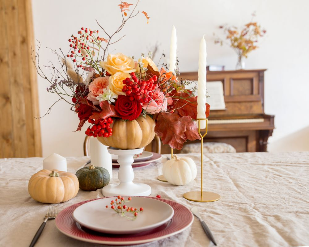 How To Style Your Dining Table For Fall - pumpkins on candleholder