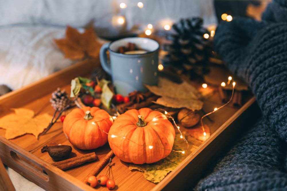 Pumpkin tray with string lights