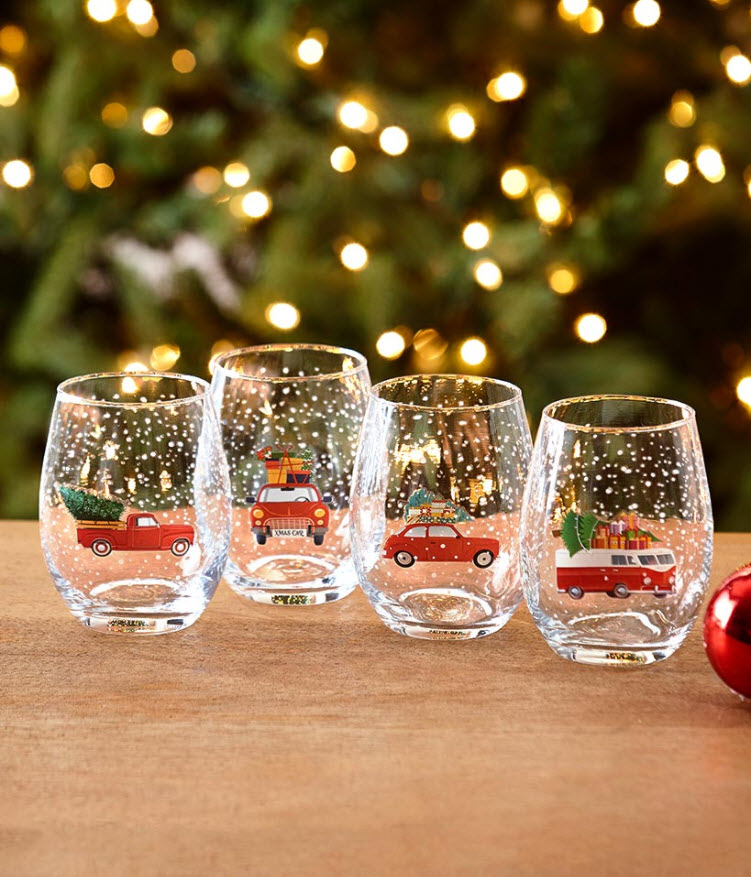 Set Of 4 Holiday Stemless Wine Glasses
