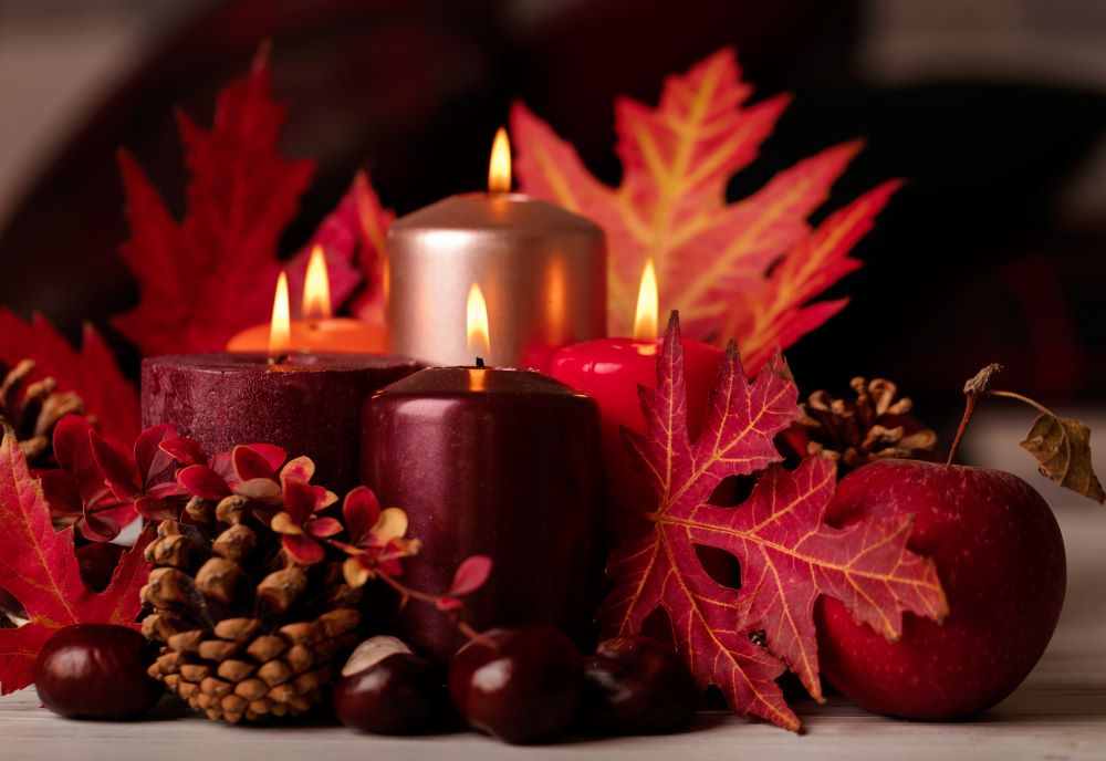 Fall candles and leaves display