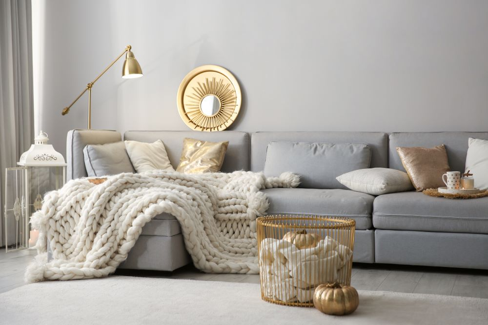 Make Your Living Room Cozy For Fall - white and gold color scheme