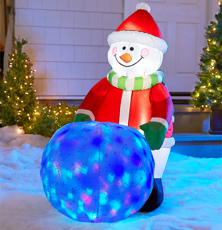 Inflatable Snowman with Globe