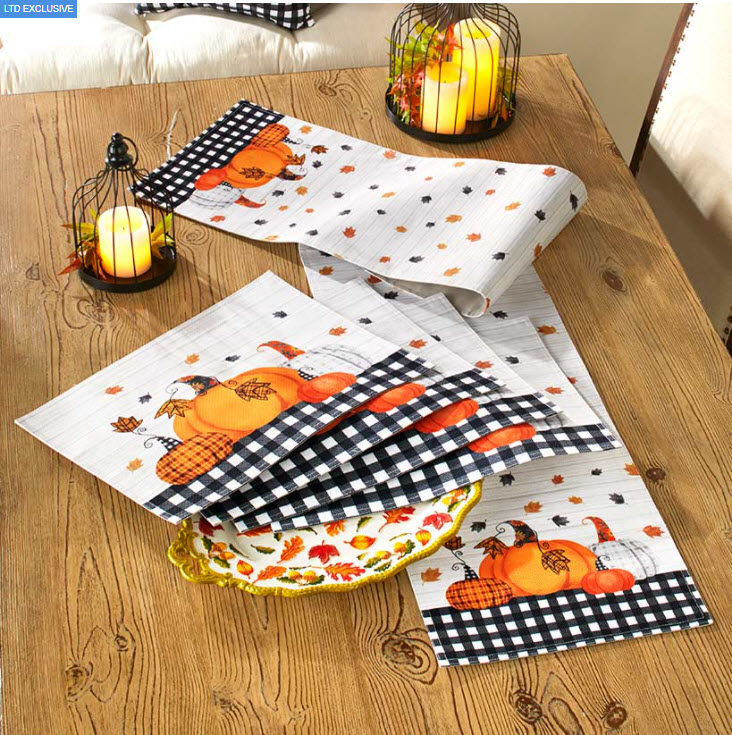 Plaid Pumpkin Table Runner or Placemats