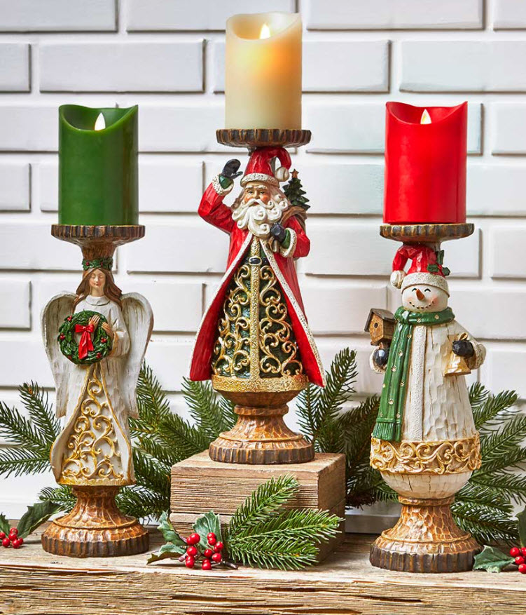 Wood Carved-Look Holiday Candleholders
