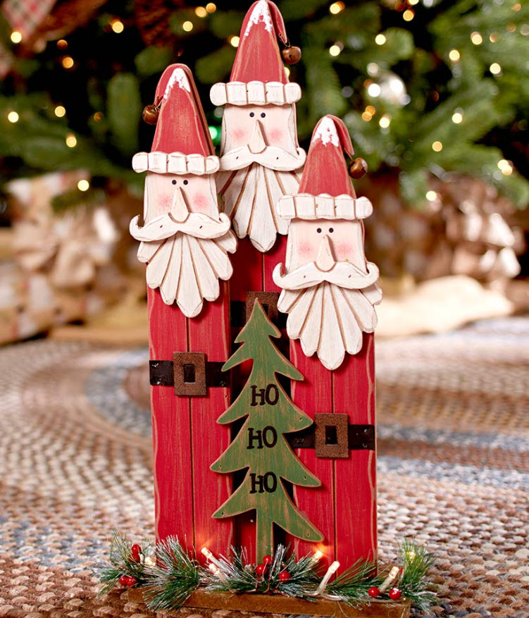 Lighted Country Holiday Characters - Santa