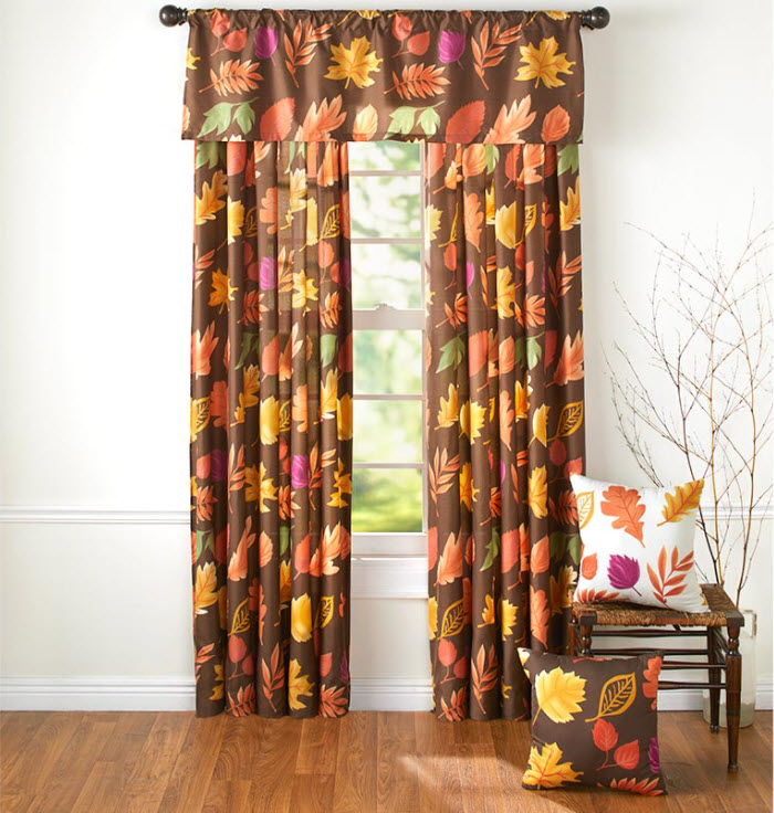 Country Leaves Window Curtains or Accent Pillows