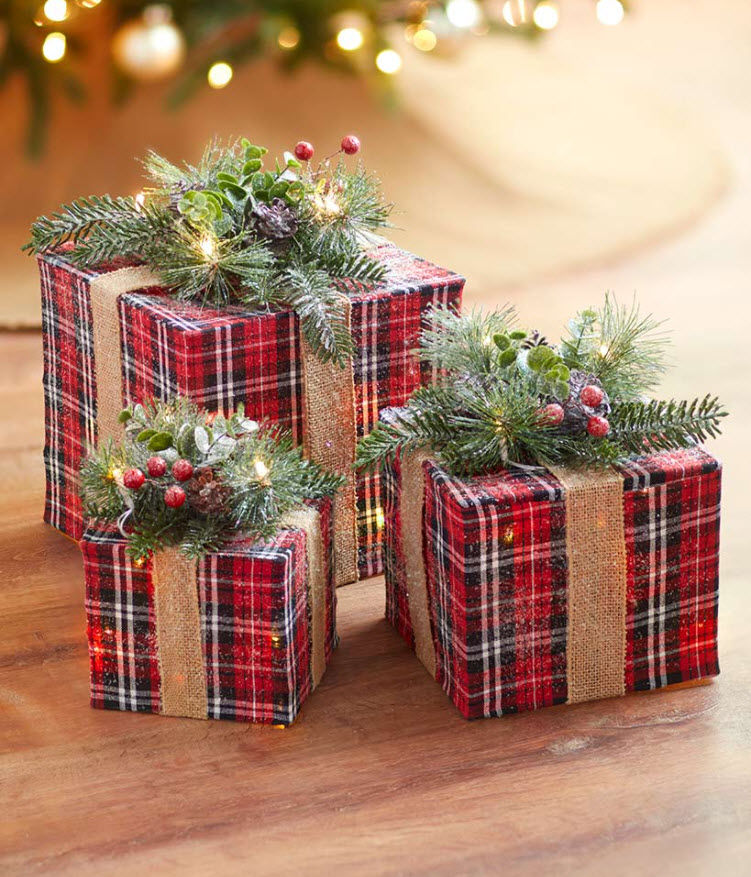 Sets of 3 Lighted Gift Boxes
